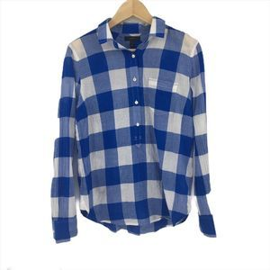 J. Crew Blue White Plaid Henley Button Front Shirt